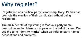 People's Administration Direct Democracy - Electoral Commssion party registration statement